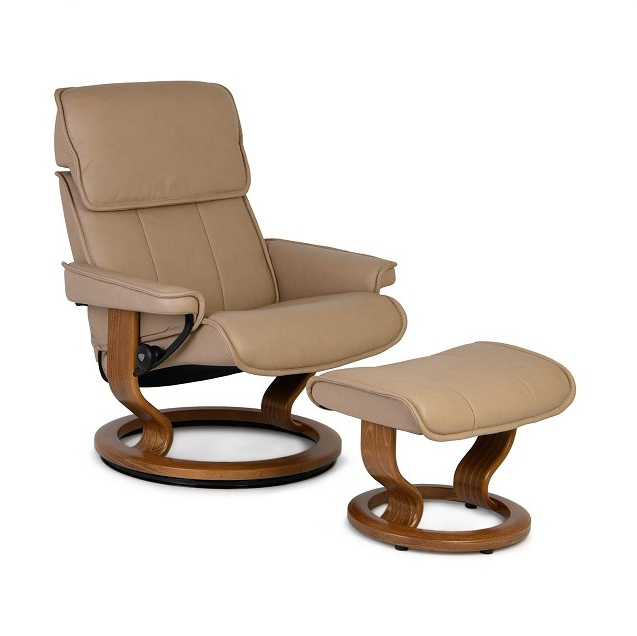 ADMIRAL STRESSLESS CHAIR AND OTTOMAN IN SAND AND TEAK